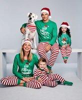 anne ailesi için kıyafetler ayarla toptan satış-Elbiseler aile pijamalar Eşleştirme Noel Pijama Aile Noel'i Kıyafetler Harf Üst + Çizgili Pantolon Eşleştirme Baba anne kızı oğlu Sets
