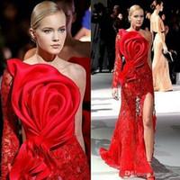 laços de renda grande venda por atacado-Evening vestidos de um ombro único luva vermelha do laço Big Bow Applique Frente Dividir Personalizar Prom Vestidos celebridade BC2382