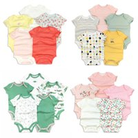 Wholesale unisex baby clothes for sale - 5PCS Baby Rompers Short Sleeve Cotton overalls Newborn clothes Roupas de bebe boys girls jumpsuit clothing