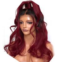 ombre bakire saç toptan satış-İki Ton Ombre Bordo Tam Dantel İnsan Saç Peruk Gevşek Dalgalı Perulu Bakire Saç Şarap Kırmızı 150% Yoğunluk Dantel Ön peruk