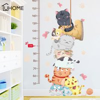Wholesale measuring height wall stickers for sale - Group buy Cartoon Cat Animals Measure Wall Stickers for Kids Rooms Kindergarten Height Chart Ruler Decals Nursery Home Decor