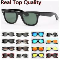 óculos de sol originais do pacote venda por atacado-Óculos de sol de designer ray marca farer modelo 2140 acetato quadro real UV400 lentes de vidro óculos de sol couro original caso pacotes tudo!