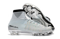 Wholesale shine shoes resale online - 2018 mercurial superfly V FG original soccer shoes cheap football boots cr7 soccer cleats ankle high cr7 Champions Time to Shine ronaldo new