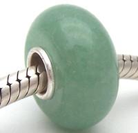 piedras preciosas cuentas europeas al por mayor-BS28 100% S925 cuentas de plata esterlina piedras preciosas Dongling jade perlas de murano Fit encantos europeos pulsera encantos diy joyería