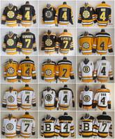 бостон хоккейные майки оптовых-Бостон 4 Бобби Орр Брюинз 7 Фил Эспозито Джерси Мужчины Винтаж СКК 75-й Хоккейная майка