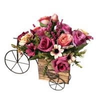metall stieg blumen großhandel-Metallholzkiste-Fahrradvase mit neuem heißem Verkauf der rosafarbenen silk künstlichen Blumen Weihnachtshochzeitsausgangsdekoration