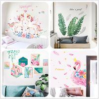 20 Estilos Niños Arte De La Pared Fotos En El Dormitorio Pegatinas De Decoración Unicornio Flamingo Geather Tree Pegatinas De Pared Decoración Para El
