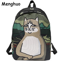 Wholesale cute backpacks for sale - Group buy Menghuo Lovely Cat Printing Backpack Women Canvas Backpack School Bags For Teenagers Ladies Casual Cute Rucksack Bookbags J190628
