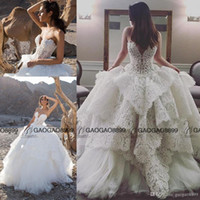 Wholesale simple pnina tornai dresses for sale - Group buy Strapless Lace Ball Gown with Pearl Beaded Bodice Pnina Tornai Wedding Gown puffy Skirt Church Train Plus Size Wedding Dress