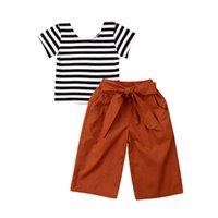 полосатые майки для детей оптовых-Летние дети одежда для девочек набор милые девочки в полоску с коротким рукавом футболки бантом широкие ноги длинные брюки 2 шт. Наряды одежда
