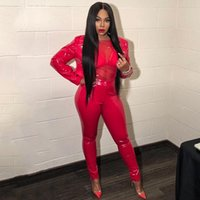 2bb65f089aaf Sexy Club TWO PIECE SET Pu Leather Pencil Pants Crop Top Button Female  Trendy Jacket Tweed Suit Faux Leather Party Outfits Red