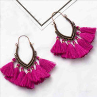 Wholesale thread jewellery for sale - Group buy Dangling Thread Earrings Fan Shape Charm Multicolor Long Tassel Earring Bohemian Fringe Jewelry for Women Fashion Jewellery