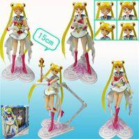 modelo vestido niños niñas al por mayor-Sailor Moon figura de acción de Anime 15 cm PVC modelo niña niños muñeca SH Figuarts vestido blanco 42tc D1