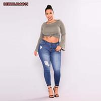 Women Elastic Jeans Broken Pants Ripped Denim Torn Pants Slim Rivets Denim Boyfriend Jeans for Women Pocket Zipper