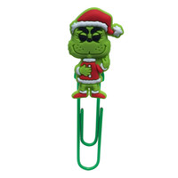 Wholesale free christmas stationery for sale - Group buy How the Grinch Stole Christmas Bookmark School Stationery Supply Creative PVC Souvenir Books Paperclips Book Decorations