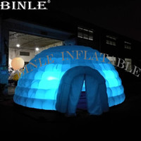 Wholesale build tent resale online - Oxford cloth large inflatable dome building with LED white event house inflatable dome marquee tent for sale