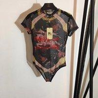 mesh-overalls für frauen großhandel-2019 sommer frauen overalls strampler Warrior Knight Vintage Printed Mesh overall Slim Fit Trikotspielanzug hochwertige frauen kleidung TT-2
