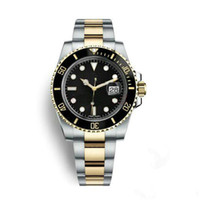 Wholesale watches branding resale online - Fashion Business brand automatic mechanical top quality watch ceramic bezel Black Dial luminous stainless pointersteel Solid strap