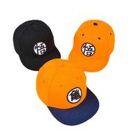 siyah ejderha anime toptan satış-Dragon Ball Beyzbol Şapkası Goku Snapback Anime Karikatür Düz Şapka Moda Güneşlik Siyah Turuncu Sıcak Satış 10 89mn D1