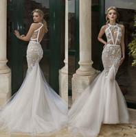 Wholesale wedding dresses out trains online - Illusion D Floral Appliques Plus Size Mermaid Wedding Dresses Hollow Out Robe De Mariee Backless Bridal Dress Vestido De Novia