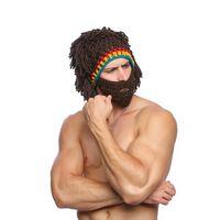 divertidos disfraces sombreros al por mayor-Peluca divertida Barba Sombreros de punto Niños Adultos Disfraces de Halloween Cosplay Gorro Gorro de invierno Spoof Bigotes Cap Broma Máscara LJJT1475