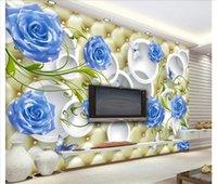 modern vintage çanta toptan satış-Papel de parede Özel 3d fotoğraf duvar kağıdı ev dekor Modern moda mavi gül zarif yumuşak çanta 3D stereo duvar duvar sticker