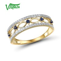 Wholesale fancy gold sets for sale - Group buy VISTOSO K Yellow Gold Rings For Women Genuine Sparkling Diamond Fancy Blue Sapphire Engagement Anniversary Unique Fine Jewelry
