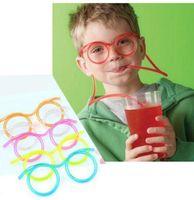 copos de palha engraçados venda por atacado-Palha de DIY óculos criativo Tricky Funny Toys Fun Novidade olhos palha para presentes das Crianças Bar Acessórios engraçado palha KKA6930