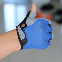 guantes de medio dedo rojos al por mayor-Fitness al aire libre medio dedo guantes hombres transpirable protector solar mitones red de secado rápido resistente al desgaste azul negro 7 8jh C1