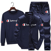 Wholesale winter gym clothes for sale - Group buy Champions Men piece set gym t shirt Cardigan pants sportswear tracksuit jacket leggings outfits hoodies outwear fall winter clothing