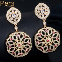 Wholesale bridal earrings red resale online - Pera Sparkling Gold Color Big Long Dangle Cubic Zircon Round Drop Bridal Wedding Party Earrings Jewelry With Rose Red Stone E175