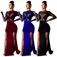 ropa afroamericana al por mayor-2019 Diseñadora Mujer Ropa Vestido de fiesta African Dashiki Perspectiva de malla europea y americana dividida en ambos lados vestido de noche en el club nocturno