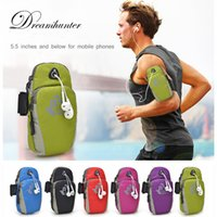 Wholesale arm band phone holder resale online - 5 inch Jogging Workout Sport Armband Pouch cell phone Holder Case Zippered Fitness Running Arm Band Bag Gym Adjustable Arm Bag