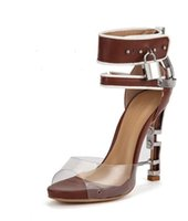 braune dicke sandalen großhandel-Freies Verschiffen Fischmaul-Transparentfolien mit Metallverschluß-Dekorations-Knöchel-Bügel-weiblicher Sandelholz-starker Unterseiten-Stilett-Fersenbraun 35-43 01