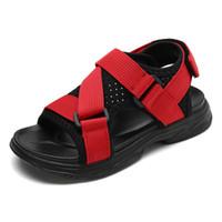 ingrosso ragazzi scarpe dita dei piedi-Sandali per bambini in mesh Sandali per bambini traspiranti a punta aperta per bambini estivi Scarpe da spiaggia piatte con sandali in gomma da bambina