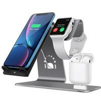 cargadores de telefono apple i al por mayor-3 en 1 Estación de carga Soporte para teléfono Qi Base de cargador inalámbrico rápido para Iphone 8 X Samsung Galaxy S6 S7 S8 Apple I-watch J190427