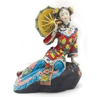 Wholesale porcelain angels resale online - Chinese Beauty Porcelain Art Antiques Figurines Angel Collectible Pottery Glaze Ceramic Dolls Home Craft Decor Wedding