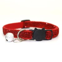Wholesale black dog leashes for sale - Group buy Clearance Cat Collar With Bell Dog Collar For Cats Kittens Pet Collars Cat Leashes Puppy Solid Adjustable Collar For Cat Pet Lead Supplies