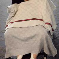 babys decken stricken großhandel-Mode Klimaanlage Decke Brief gestrickte Baumwolle weiche Polsterung für Baby Kinder atmungsaktive weiche Buchstaben Decken