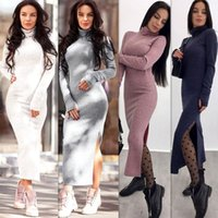 2635b1339b1 wholesale Turtleneck Knitted Sweater Dress Sexy Split Long Sleeve Women s  Autumn Winter Slim Solid Maxi Dresses Bodycon Long