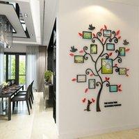 projetos de árvores molduras de parede venda por atacado-Assembléia DIY 3D família Photo Frame Árvore Home Decor Projeto Sala de parede com arte decalques Vintage Poster Molduras Pegatinas