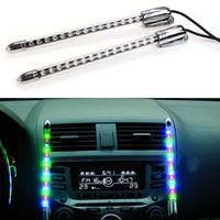 müzik aktif ışıklar araba toptan satış-45x11 cm DC 12 V Ses Duyarlı Müzik Yendi Aktif Araba Sticker ekolayzır Glow Renkli LED Işık ile Araba Sigara Şarj Evrensel Dekor