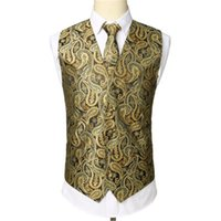 ingrosso panciotto paisley-Tie nozze Gilet Suit Pocket Classic Paisley Jacquard Gilet Vest Hankerchief partito da uomo squadra a triangolo Nuovo
