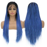 Wholesale blue hair for braiding for sale - Group buy AIMEYA Braided Wig for Women with Baby Hair Long Micro Braids Synthetic Lace Front Wigs Black Roots Ombre Blue Box Braids Wig