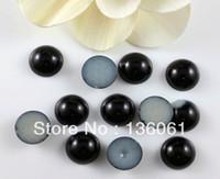 akrilik yuvarlak inci boncuklar toptan satış-Zanaat Charms Yapımı Takı için 100pcs Vintage Siyah Akrilik İmitasyon İnci Yuvarlak Yarım yüz DIY takı bulgular Z2440 Beads