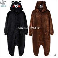 disfraz de oso adulto al por mayor-HKSNG 2018 Animal Unisex Adulto Brown Bear pijama de franela de dibujos animados Kumamon Onesies Cosplay Disfraces Monos mejor regalo