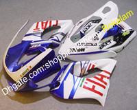 piezas de carenado moto yamaha al por mayor-YZF1000R Partes de la motocicleta Carenado YZF 1000R Para Yamaha YZF 1000 R Thunderace 1997-2007 FIAT Sport Carenados de moto Azul Blanco