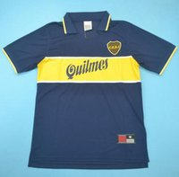junior tops venda por atacado-Top 97 98 Boca Juniors Retro Camisas Classic Vintage Maradona Soccer jersey 1997 1998 GAGO TEVEZ camisa de futebol BENEDETTO maillot de foot