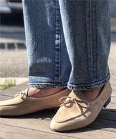 ingrosso cravatte marrone casual-Zapatos Hombre Uomini Brown Suede belga Mocassini Uomini Mocassini Pantofole Bow Tie Dress scarpe da sposa del cuoio genuino pattini casuali