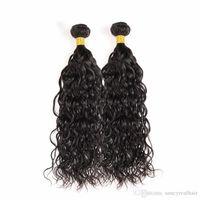 extensiones de cabello de onda grande al por mayor-Elibess Water Wave Extensión del cabello brasileño Rizado grande 100% Sin procesar Paquetes de cabello humano virgen 3pcs / lot Color natural Trama del cabello